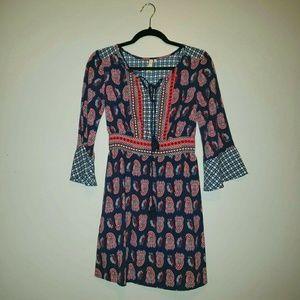 Red Camel Paisley Print Boho Dress Size XS